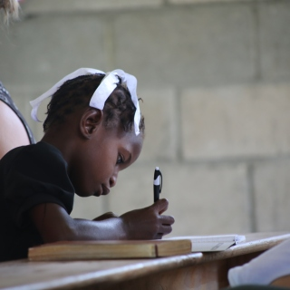 Girl Drawing at Church